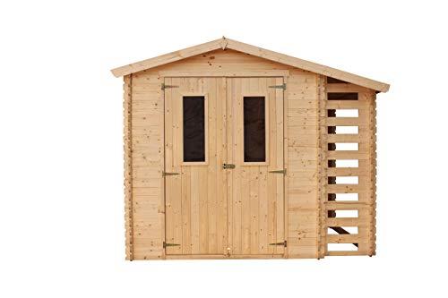 TIMBELA Holzhaus Gartenhaus mit Brennholzschuppen M386C - Gartenschuppen Holz B272xL206xH218 cm/ 3,53 0,97 m2 Lagerschuppen für Garten - Fahrrad Schuppen - Wasserfestes Dach