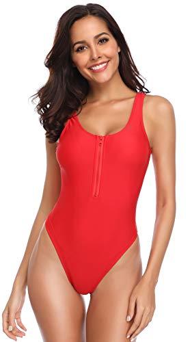 SHEKINI Damen Einteiliger Bademode Reißverschluss High Cut Badeanzug Sportlich Rückenfrei Ärmellos Monokini (Large, Rot)