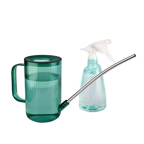 Vegena Regadera de Plantas, 2 Piezas Regadera Pequeña +Botella Spray Plastico, Regadera De Boca Larga, Regadera Transparente, para Riego de Plantas Suculentas y Flores(Verde)