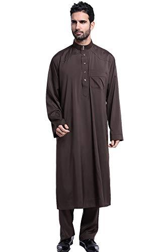 GladThink Männer Thobe mit Langen Ärmeln Arabisch Muslim Wear Kalb Länge Kaffee XXL