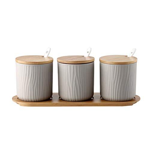 WYJBD Tarro de cerámica del condimento condimento Ollas Sistema de la Caja de Las Rayas Verticales de la Especia con la Tapa, Bandeja Cuchara (Color : C)