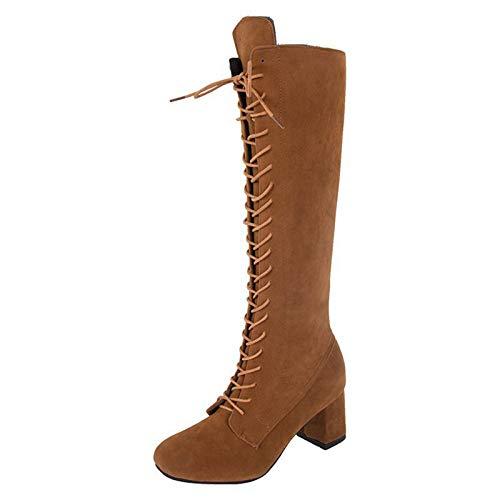 KKJKK Talla Grande Botas Altas de Mujer Moda Sexy Botas hasta Las Rodillas Botas de Mujer Cabeza Redonda Calentar Botas Largas Invierno Señoras Botas Casuales Zapatos,Amarillo,EU36
