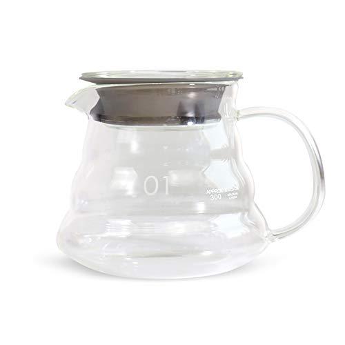V60 Servidor de café de cristal, jarra de goteo de café, hervidor de café para verter sobre café y té, 360 ml
