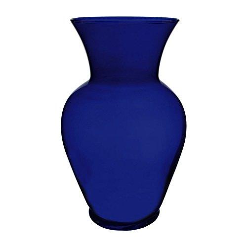 Floral Supply Online 10 5/8' Cobalt Blue Spring Garden Vase and Flower Guide Booklet- Decorative Glass Flower Vase for Floral Arrangements, Weddings, Home Decor or Office.