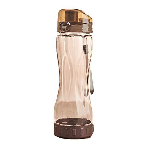 Bottiglia Acqua Borracce Chiaro Bottiglia di Acqua Bottiglia d'acqua riutilizzabile Bottiglie di bevande Per Adulti Tazza di Acqua di Sport brown,600ml