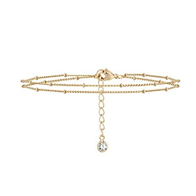 Gold Layered Dainty Bead Chain Bracelet for Women,14K Gold Plated Cute Tiny Double chain Layered Satellite Chain Bracelet for Women