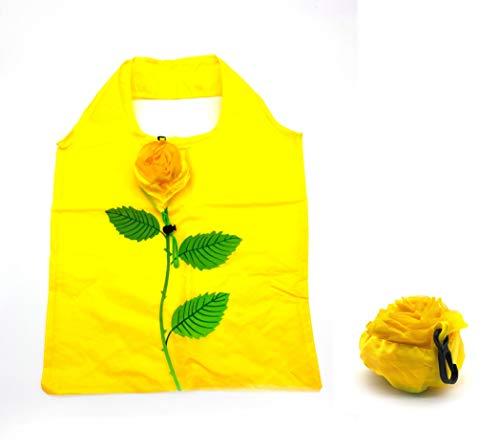 ほうねん堂 エコバッグ 折りたたみ 収納 花モチーフ 携帯 買い物袋 38×58�p (イエロー)