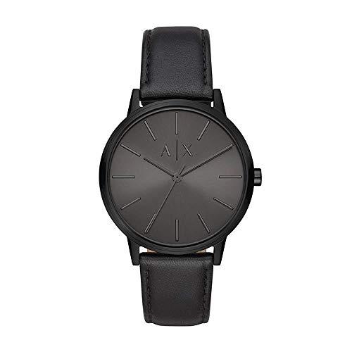 Armani Exchange Herren Analog Quarz Uhr mit Leder Armband AX2705