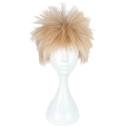 COSPLAZA Cosplay Wigs Short Light Blonde with Pink Hair Fluffy Male Boy Manga Anime Cosutme Wig