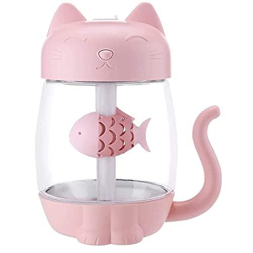 HUAXUE humidificador de habitación, 350 ml Humidificador de Aire de Gato con Color LED Luz Ultrasonic 3 en 1 Adorable Cat Eat Fish Humidificador USB Aroma Difusor Fogger (Color : Pink)