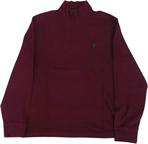 Polo Ralph Lauren Mens Quarter Zip Estate Rib Sweater (L, Magenta)