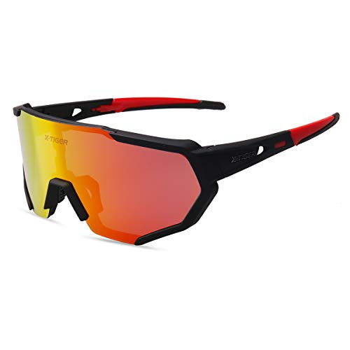 X-TIGER Occhiali Ciclismo Polarizzati con 3 Lenti Intercambiabili Occhiali Bici Antivento e Antiappannamento Occhiali Sportivi da Sole Anti UV da Uomo Donna per Corsa, MTB e Running