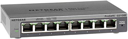NETGEAR Switch Ethernet Gigabit 8 Ports 10/100/1000 mbps (GS108E) Smart Manageable, Bureau ou Rackable, Métal, Silencieux , Protection ProSAFE, Garantie à Vie Parfait pour les PME et TPE