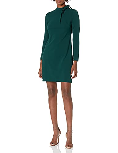 Calvin Klein Women's Long Sleeve Dress Detail, Malachite Tie Neck, 10