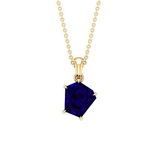 Colgante de zafiro azul creado en laboratorio de 2,75 quilates, colgante solitario (9 x 9 mm, zafiro azul creado en laboratorio) azul