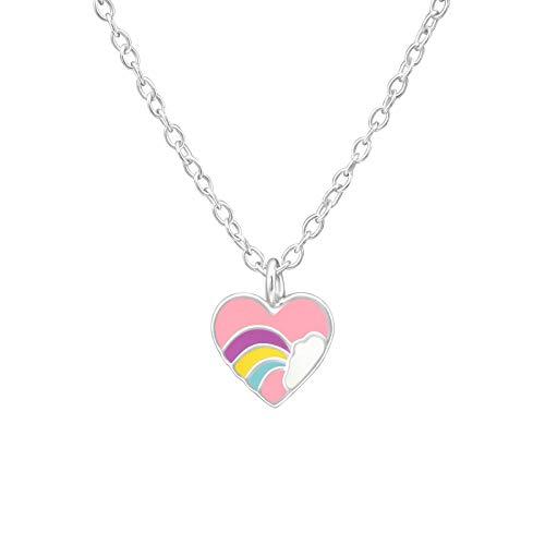 Tata Gisèle  - Collana per bambini in argento 925/000 rodiato, con ciondolo a forma di cuore rosa decorato con un arco in cielo e una nuvola bianca, 39 cm
