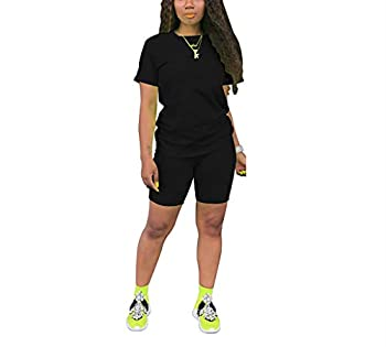 Women s 2 Piece Outfit - Casual Short Sleeve T-Shirts Bodycon Shorts Set Jumpsuit Rompers.