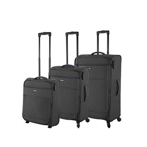 Rada Koffer Gepäck Cloud Reise Trolley sehr leicht mit 4 Rollen Reisekoffer mit Zahlenschloss Verschiedene Größen (anthrazit, Koffer-Set 3-teilig)