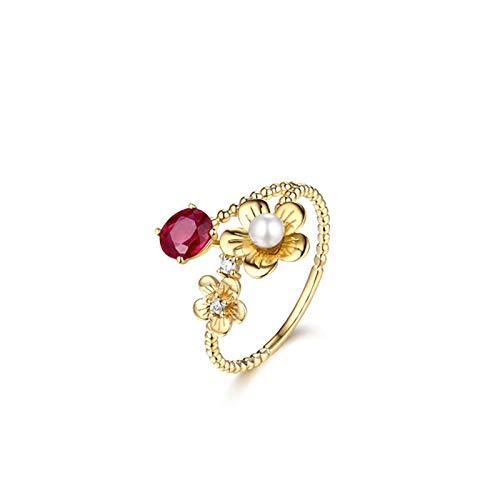 Aeici Anillo Oro amarillo 18k, Anillo De Compromiso De Mujer Rubí Diamante 0.6ct, Ovalada, Talla 9,5