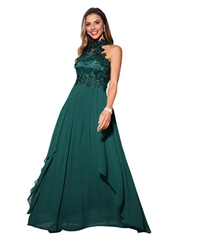KRISP Vestido Fiesta Largo Dama de Honor Corte Imperio Invitada Boda Tallas Grandes Elegante Madrina Ceremonia, (Verde Oscuro (4812), 46 EU (18 UK)), 4812-DKGRN-18