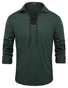 PJ PAUL JONES Men s Kilts Medieval Renaissance Pirate Costume Shirt L Green
