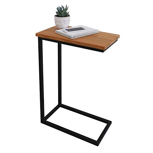 BestLoft® Beistelltisch San Jose (CSH) Laptoptisch Betttisch Couchtisch (Gestell schwarz+Platte hell)