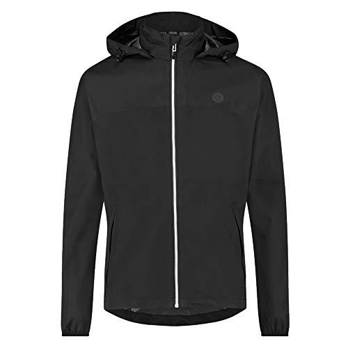 AGU GO Essential Regenjacke Damen & Herren, Fahrradjacke Wasserdicht & Winddicht, Atmungsaktiv, Reflektierend, Unisex, L, Schwarz