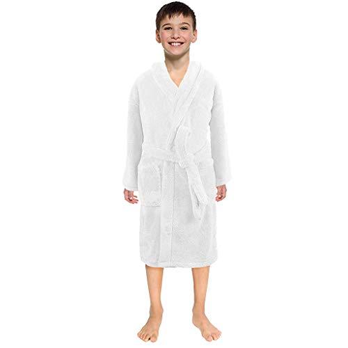 Sunenjoy Peignoirs de Bain Enfants Garçon Fille Drap de Bain Flanelle Chemise de Nuit Manches Longues Pyjamas Vêtement de Nuit Robe de Chambre Serviette Doux Éponge 3-12 Ans (6-8 Ans, Blanc)