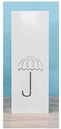 Soporte para paraguas, hierro forjado, cubeta para paraguas, estante retráctil, para aterrizaje en casa (color: blanco)