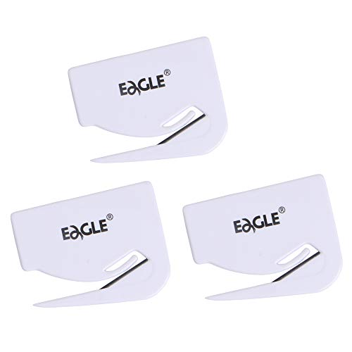 Eagle Letter Opener Envelope Slitter Plastic Razor Blade for Home and Office Use Pack of 3 White