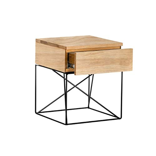 XIAOQIU Nightstand Nordic Solid Wood Nightstand Storage Cabinet Side Table Creative Modern Minimalist Storage Cabinet With Drawer Bedside Table Bedside Cabinet (Color : Wood)