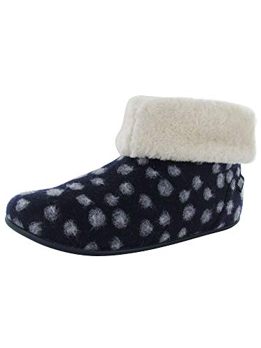 FitFlop Womens Sarah Shearling Dots Slipper Shoes, Midnight Navy, US 7