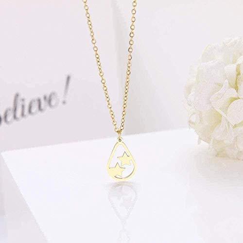 Mxdztu Co.,ltd Collar Collar de Acero Inoxidable para Amantes de Las Mujeres Pentagram Friends Gargantilla Cadena Collares de Oro Joyería de Compromiso-Oro