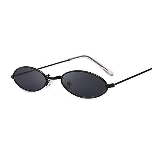 Sunwd Gafas de Sol para Hombre y Mujer, Fashion Women Sunglasses Famous Oval Sun Glasses Female Luxury Metal Round Rays Frames Black Small Cheap Eyewear Oculos BlackGray