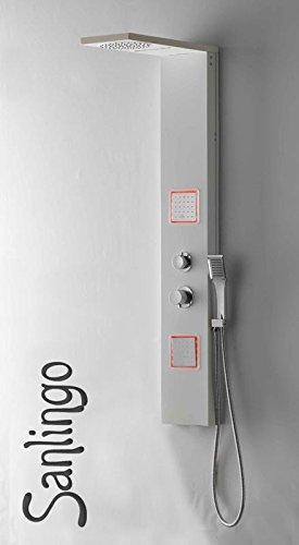 LED Duschpaneel Duschsäule Regendusche Massage Weiß Wasserfall Sanlingo