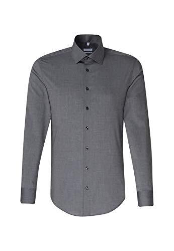 Seidensticker Herren Business Slim Fit – Bügelfreies, schmales Hemd mit Kent-Kragen – Langarm – 100% Baumwolle Businesshemd, Grau (Dunkelgrau 37), (Herstellergröße: 43)