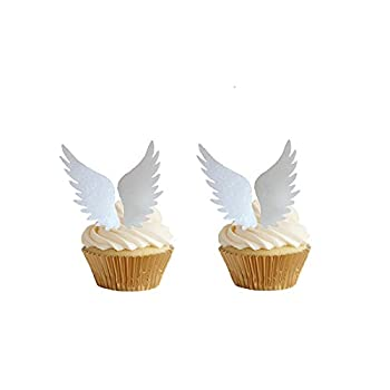 GEORLD 24pairs Wafer Angel Wings Wafer Cupcake Toppers Wing Cake Decoration For Anniversary Birthday Party & Wedding