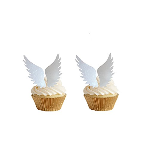 GEORLD 24pairs Edible Angel Wings Wafer Cupcake Toppers Wing Cake Decoration For Anniversary, Birthday Party & Wedding