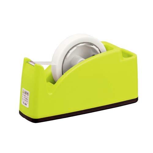 プラス テープカッター ペン立てポケット付き ライトグリーン TC-201 【まとめ買い3個セット】