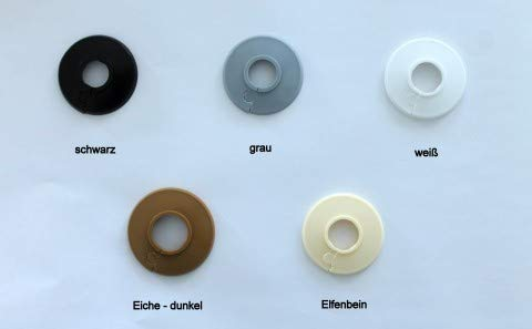10 STÜCK Einzel-Rosetten für Heizungsrohre, Abdeckung für Heizungsrohre, Heizung, 15mm, 18mm, 22mm Polyäthylen in Sonderfarben: elfenbein-, grau-, schwarz & eiche-Töne (15 mm, RAL 1015)