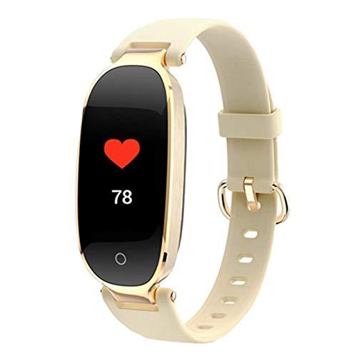 Moda S3 Bluetooth impermeable reloj inteligente moda mujeres señoras ritmo cardíaco Monitores fitness Tracker reloj inteligente para Android IOS (B)