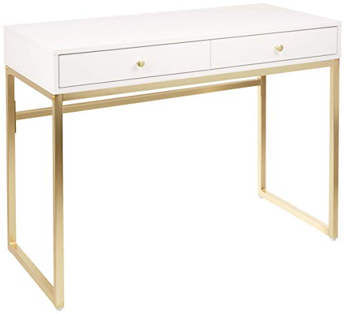 Acme Furniture Coleen Desk, White and Gold
