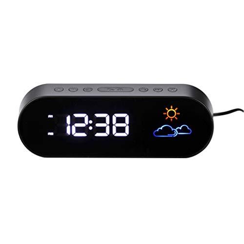 Xu Yuan Jia-Shop Negro Pantalla LED a Color Previsión meteorológica Reloj Estación meteorológica Digital Electrónico Reloj Despertador Radio silenciosa Función de Despertador