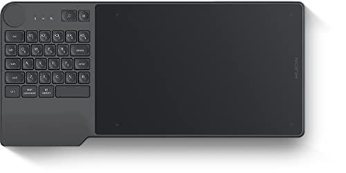 HUIONペンタブレットInspiroy Keydial キーボートとダイヤルコントローラーを組み合わせ、効率的にお絵描き、Bluetoothレシーバー接続可、8.9 x 5.6インチ スマホでお使えペンタブ 傾き検知±60°KD200