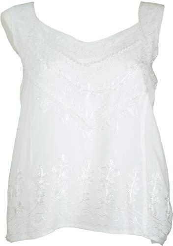 Guru-Shop Besticktes Indisches Hippie Top, Kurze Boho-chic Bluse, Damen, Weiß, Synthetisch, Size:40, Tops & T-Shirts Alternative Bekleidung