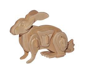 Etna Iława Hase - klein ca. 9 x 4,5 x 6 cm 3D Holzbausatz Säugetier Zoo Kaninchen Häschen Holzpuzzle Steckpuzzle Holz Tier PV-M004