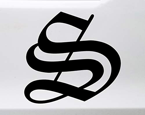 Minglewood Trading Black - Old English Letter Vinyl Decal - Initial Tattoo Script Lettering - Die Cut Sticker - 4h inches