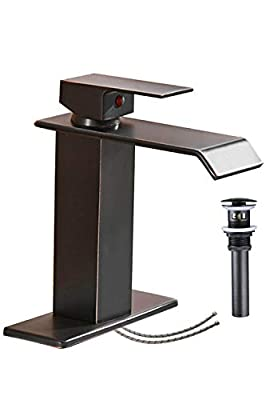 Homevacious Bathroom Faucet Oil Rubbed Bronze Waterfall Sink Single Hole With Pop Up Drain Vanity Lavatory Basin Mixer Tap One Handle With Overflow Supply Line Lead-Free