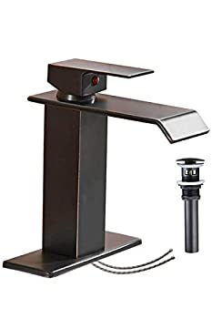 Bathroom Faucet Oil Rubbed Bronze Waterfall Sink Single Hole with Pop Up Drain Vanity Lavatory Basin Mixer Tap One Handle with Overflow Supply Line Lead-Free by Homevacious