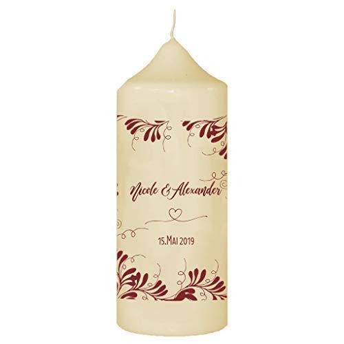 Livingstyle & wanddesign kaars voor bruiloft met eigen naam en datum, rode ranken